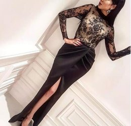 Wholesale Nude Ladies Art - Inspired Yousef Aljasmi Dubai Black Evening Dresses 2017 High Neck Mermaid Lace Split Lady Prom Occasion Party Gowns Custom Made 2018