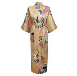 Wholesale Ladies Night Gowns - Wholesale- Long Style Lady Kimono Bathrobe Wedding Robe Night Gown Lounge Sleepwear With Pocket RB009