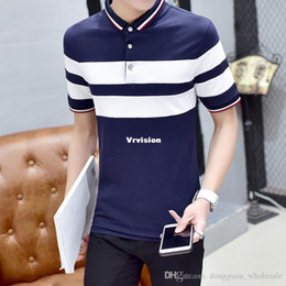Wholesale Striped Plus Size Tee Shirts - High Quality Brand Men's Polo Shirt New Summer Casual Striped Patchwork Mens Polos Shirt Slim Fit Mens Top Tees Plus Size 5XL