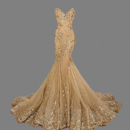 Wholesale Elegant Sweetheart Strapless Beaded Dress - Mermaid Sweethaert Gold Applique Tulle Elegant Beaded Evening Dresses Evening Dresses Custom Made Luxurious Royal Beautiful