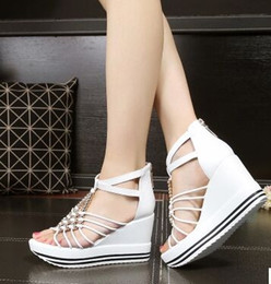 Wholesale Wedge Peep Toe Sandals - New Arrival Hot Sale Knight Star Princess Noble Peep Toe Summer sweet Thick Bottom Roman Leather Platform Casual Beads Wedge Sandals EU34-40