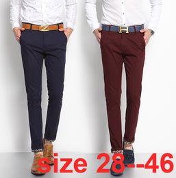 Wholesale Cuffed Men S - Wholesale- autumn slim fit khaki chinos men bottom revers designed casual fashion mens pants big size 28-38 40 42 44 46
