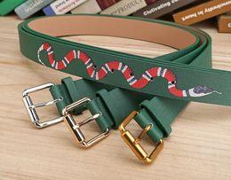 Wholesale Faux S - Hot green color Luxury High Quality Designer Belts Fashion snake animal pattern buckle belt mens womens belt ceinture optional attribute