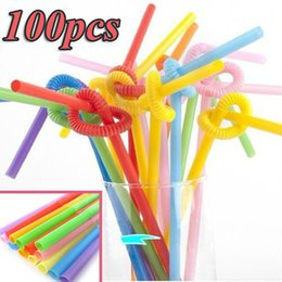 Wholesale Special Straw - Wholesale- Special Offer Top Fashion Beige Decor Decoration 100pcs Multicolor Long Bendy Drinking Straws Home Bar Cocktail Drink