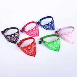 Wholesale Scarf For Dog Wholesale - high quality pet triangular bandage with bell PU cat collars dog scarf for small dog and cat free shipping WA1820