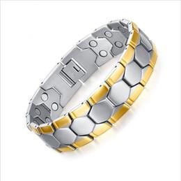 Wholesale Balance Magnetic Bracelet - Gold Plated Men Bracelet Jewelry Energy Health Magnetic Bracelets for Man Charm Balance Bracelets 21CM male magnet bracelet