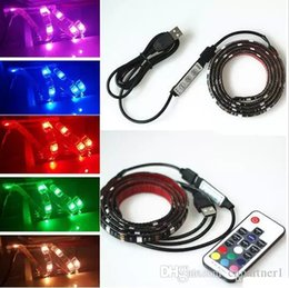 Wholesale Pc Tv Wire - 50PCS Factory stock hot 5050 DC 5V RGB LED Strip Waterproof USB 30LED M USB LED Light Strips Flexible Neon Tape 1M 2M add Remote For TV Back