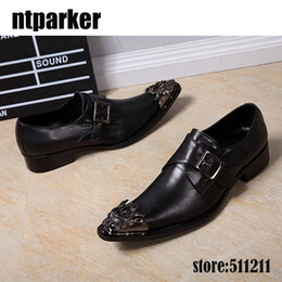 Wholesale Fall Style Tips - Big Sizes 45 46 Men Dress Shoes Black with Decorative Metal Tips Genuine Leather Italian Style Slip On Party Black Shoe