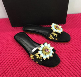 Wholesale Leather Platform Slide - 2017 luxury peep toe diamond flower Slippers Summer Platform Shoes Woman Slip On Creepers Rhinestone Crystal Casual Slides