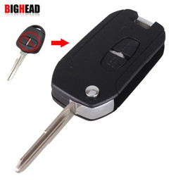Wholesale Remote Flip Keys - car BIGHEAD 2 Buttons Remote Key Shell Case Folding Flip Fob For Mitsubishi Outlander Lancer Evolution Grandis Right Blade With LOGO