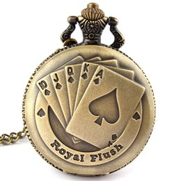 Wholesale Poker Card Necklace - Wholesale-Antique Bronze Royal Flush Poker Cards Pocket Watch Necklace Chain Xmas Gift P80 relogio de bolso