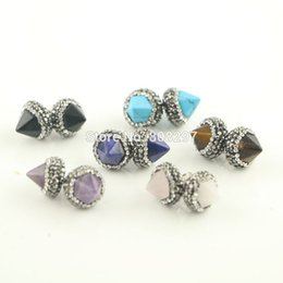 rhinestone spikes studs Australia - 5pair Silver Mixed Stone Spikes Stud Earrings, Pave Crystal Rhinestone Charm Earrings Jewelry Finding