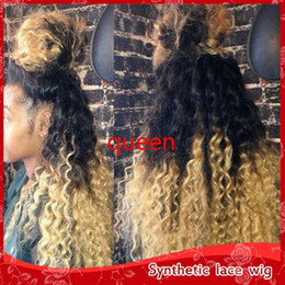 Wholesale Two Tone Kinky Curly - New black blonde ombre lace wigs Heat Resistant two tone 1b 613# afro kinky curly synthetic lace front wigs with baby hair