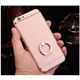 Wholesale Metal Textures Free - Thin Electroplate Metal Texture Case For iPhone 6 6S Plus Ring Kickstand 3 in 1 Hard PC Cover Shockproof Protective Armor Free Shipping