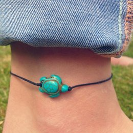 Wholesale Rope Anklets - 1 Pc Turquoise Turtle Beads Black Rope Ankle Bracelets For Women Foot Anklets Chain Summer Beach Jewelry Accessory