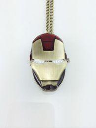Wholesale High Fashion Pocket Watches - 10pcs lot wholesale fashion vintage charm movie jewelry Iron man pendant Pocket watch necklace High quality hot