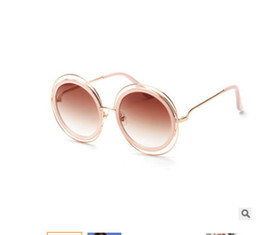 Wholesale Copper Winding Wire - 2017 Double wire circle round sunglasses The European and American wind restoring ancient ways sunglasses Red tide fashion glasses