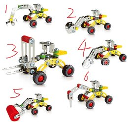 Wholesale Construction Model Kits - 3D Assembly Metal Engineering Vehicles Model Kits Toy Car Excavator Bulldozer Roller Breaker Forklift Building Puzzles Construction Play Set