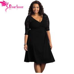 Wholesale Dear Dress - Wholesale- Dear Lover Women Work Autumn XXXL Dresses Black Blue Lavish V-neck Lace Half Sleeves Plus Midi Dress Vestidos Robe Femme LC61287