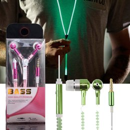 Wholesale Wireless Handsfree For Iphone - Luminous Earphones Glow In The Dark Headphones Metal Zipper Night Lighting Glowing Headset With Mic Handsfree For Iphone 7 EAR223