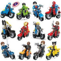 Wholesale Motor 3d Model - 12pcs Marvel Super Heroes Avengers Captain America Motorcycle Shield Motor Chariot 3D Model Building Block Toys with mini action figure
