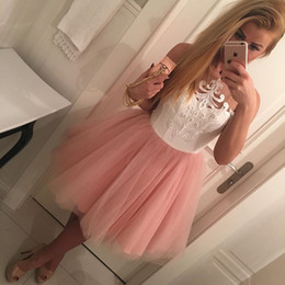 Wholesale High School Prom Dresses - Blush Pink Tulle Short White Embroidery Homecoming Dresses for High School Sheer Neck Knee Length Short Sweet 16 Prom Dresses
