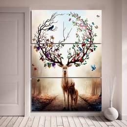 Wholesale Canvas Oil Painting Landscape Forest - 3 Piece Canvas Art Dream Forest Elk Deer Poster HD Printed Wall Art Home Decor Canvas Painting Picture Prints Free Shipping NY-6829C