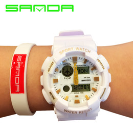 Wholesale Best Women Watches Color - Sanda Colorful Men Digital Luxury Brand Military Watch Automatic Waterproof Wristwatch Top Quality G Women Famous Shock Clock Best GiftWatch