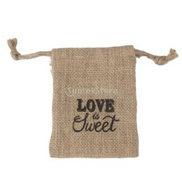 Wholesale Sweet Wedding Favours - Wholesale-5x LOVE IS SWEET Linen Jute Sack Pouch Drawstring Gift Bags Wedding Favour