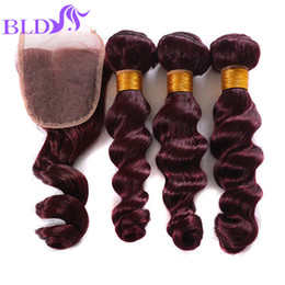 Wholesale 14 Inch 99j - Cheapest New Mink 99j Peruvian Loose Wave With Closure bundles with lace closure Red 99j virgin human hair Weave