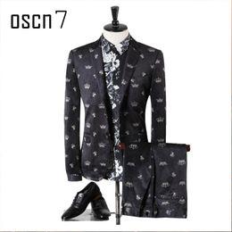 Wholesale Evening Blazer - Wholesale- OSCN7 Black Fashion Printed Suit Men Slim Fit Notch Lapel Plus Size Evening Wedding Groom Suits Brand Leisure Terno Masculino