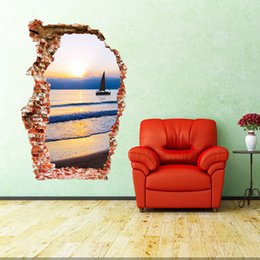 Wholesale Sea Poster Landscape - aw3023 3D Sea Wall Sticker Sunset Boating Bedroom Poster House Door Quote Mural Wall Decals Home Decor 60*90cm Free Shipping