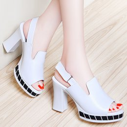 Wholesale White Tape Fish - Sexy Women's Chunky heel Fish toe Platform Pumps Gladiator high heel Stiletto Sandals with Magic tape White and Black colors in 35-39