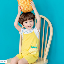 Wholesale Shirt Cotton Summer Korean - Baby Outfits New Summer Ruched Tee Shirt Tops + pineapple Suspender Thouser 2pcs suits Korean Boys Clothing Sets C998