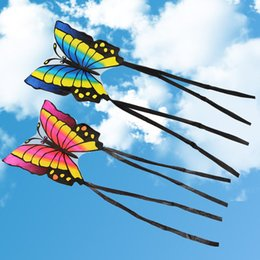 Wholesale Butterfly Play - Wholesale- Children's Butterfly Kite Easy to Fly Single Line Kite Tail 1.5M Outdoor Funny Sports Toy Gift Funny Sport Outdoor Playing Toys