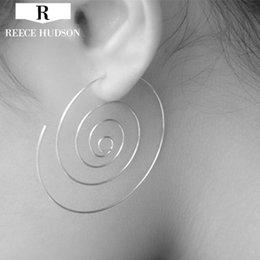 Wholesale Iron Hoop Earrings - fashion hyperbole punk style iron Wire spiral female hoop earrings for women Girl Party ear cuff earring