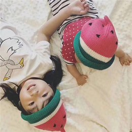 Wholesale Hand Knit Hats For Babies - Ins, male and female baby hand knitted hats and bonnets watermelon watermelon's hat wool cap, a good gift for children