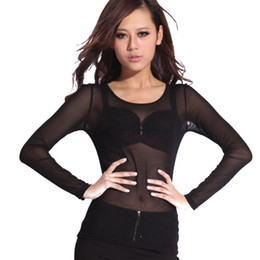 Wholesale Tops Transparent Sleeves - Hot New 2016 Spring Summer Womens Long Sleeve Sexy Black Mesh Top T Shirts Transparent Punk Club Streetwear Tees Beach Tops Z1