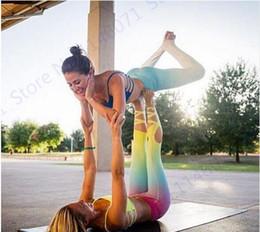 Wholesale Gradient Color Leggings - Gradient Color Ballet Infinite Turnout Leggings Slimming High Waist Yoga Capris Pants Dance Spirit Bandage Skinny Tights Women's