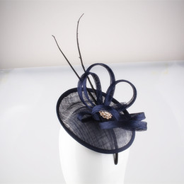 Wholesale Blue Hair Fascinators - Free shipping Navy cocktail hats flower feather sinamay fascinator women hair accessories elegant fascinators for Grand Event Party 17COLORS