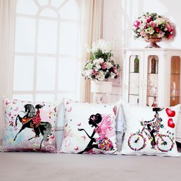 Wholesale house digital - Wholesale- Pillow Case Fairy Bike Cotton Linen Pillows Case Cover Flower Throw Cushions Without Insert Digital Printing Butterfly House 10