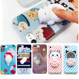 Wholesale Case For Kitty - 2017 Newest 3D Cat Case for iPhone 7 7Plus 6 6S Plus Elastic Squishy Silicone Kitty Cat Phone Case for Stress Relieve