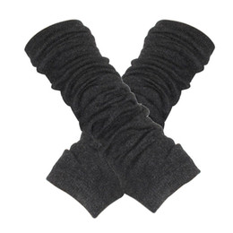 Wholesale Fingerless Elastic Gloves - Wholesale- SAF 2016 NEW Dark Gray Fingerless Elastic Winter Thick Arm Warmers Gloves