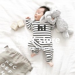 Wholesale Cute Infant Winter Clothes - Wholesale- 2017 New baby boy girl clothes set stripe Long sleeve cute letter baby romper infant clothes newborn baby clothing set toddler