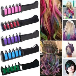Wholesale Hair Chalks Sets - 6 Colors  Set Hair Colorful Fashion Permanent Chalk Powder With Comb Temporary Hair Mascara Multicolor Dye Hair Styling Make UP Tool