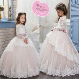 Wholesale Elegant Girl Formal Dresses - 2017 New Lace Long Sleeves Flower Girl Dresses Elegant Princess Jewel Neck with Sash Long Kids Formal Gowns Girls Birthday Party Dresses