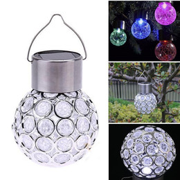 Wholesale Peacock Lamps - Color Changing Solar Powered Ball Lights Garden Outdoor Landscape LED Lamp Lawn Patio Walkway Lights Peacock Eye Solar Hanging Light Lantern