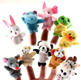 Wholesale 12 Animals Figurines - Plush toys for children finger Puppets Finger animal Double-deck little figurine Cartoon Free Delivery