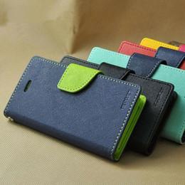 Wholesale Iphone Mercury Cover - Mercury Wallet leather PU TPU Hybrid Soft Case Folio Flip Cover for iPhone 5 SE 6S 7 Plus