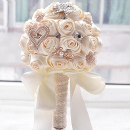 Wholesale Bride Roses - In stock Stunning Wedding flowers White Bridesmaid Bridal Bouquets artificial Rose Wedding Bouquet D373